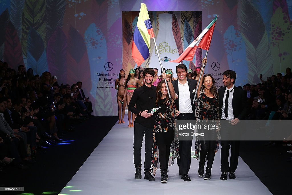 Agua Bendita fashion designer Catalina Álvarez, Inexmoda director Carlos Eduardo Botero, fashion designer Mariana Hinestroza and Cory Crespo walk the runway during the third day of Mercedes-Benz Fashion Week Mexico Spring/Summer 2013 at Carpa Santa Fe on November 14, 2012 in Mexico City, Mexico.