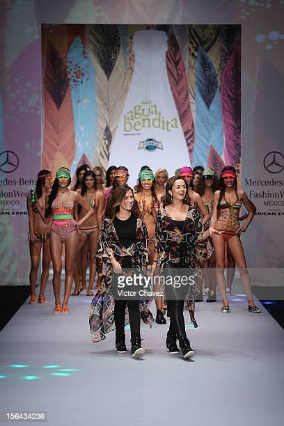 Agua Bendita fashion designers Catalina Álvarez and Mariana Hinestroza walk the runway during the third day of MercedesBenz Fashion Week Mexico...