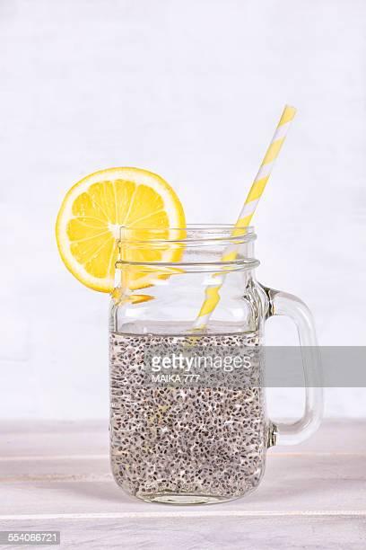 Agua de Chia (Chia water) in a mason jar