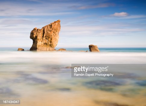 Aguilar beach in Asturias, Spain : Foto de stock