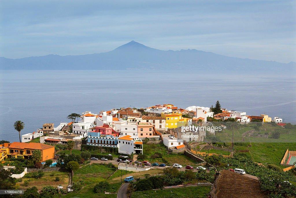 Agulo town and vulcano Teide, Canary Islands