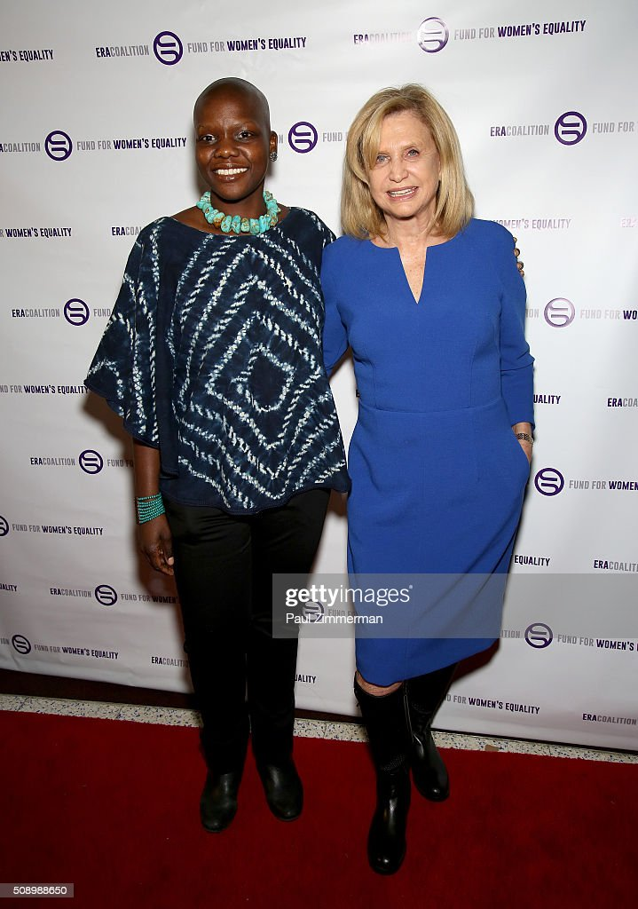 Agunda Okeyo (L) and U.S. Representative for New York's 12th congressional district, <a gi-track='captionPersonalityLinkClicked' href=/galleries/search?phrase=Carolyn+B.+Maloney&family=editorial&specificpeople=2306330 ng-click='$event.stopPropagation()'>Carolyn B. Maloney</a> attend A Night Of Comedy with Jane Fonda presented by the Fund For Women's Equality & ERA Coalition Carolines On Broadway on February 7, 2016 in New York City.