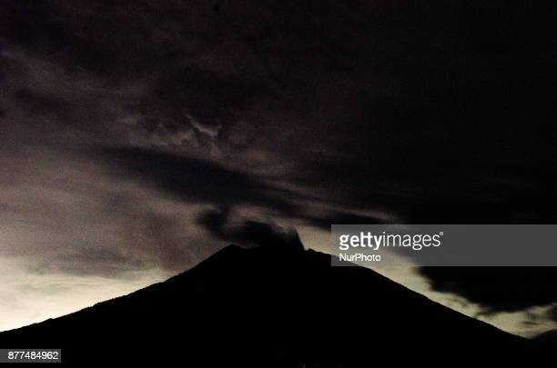 Agung volcano crater thick smoke from continuing on Kubu on November 22 2017 in Karangasem Bali Indonesia Agung volcano alert status LevelIII with a...