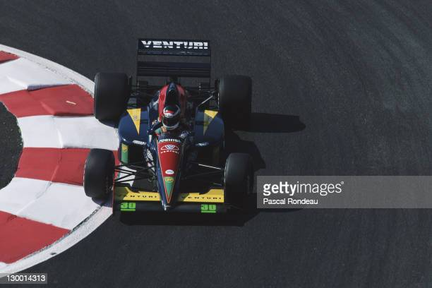 Aguri Suzuki of Japan drives the Larousse Lola 91 Ford Cosworth DFR 35 V8 during practice for the RhonePoulenc French Grand Prix on 6th July 1991 at...