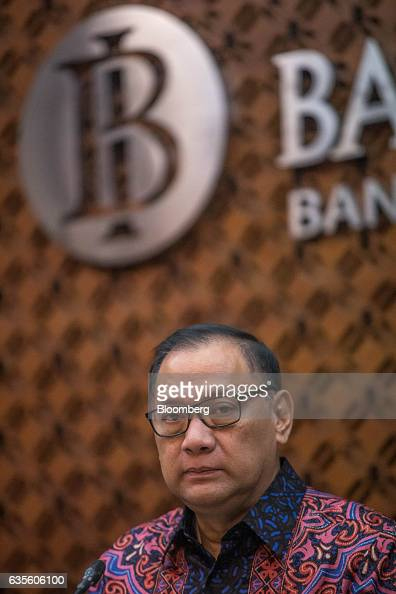Agus Martowardojo governor of Bank Indonesia looks on during a news conference following the central bank's rate decision meeting in Jakarta...