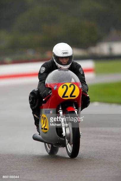 Agusta 500/3 entrant Joaquin FolchRusinol ridden by JFolchRusinol Jnr Ivo Viscasillas in the Barry Sheene Memorial Trophy at Goodwood on September...