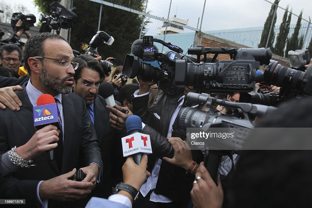 Agustin Acosta, lawyer of French citizen Florence Cassez talks with the media outside of the Women's Social Rehabilitation Center on January 23, 2013 in Mexico City, Mexico. The Mexican Supreme Court panel voted to release Cassez, who was sentenced to 60 years in prison for kidnapping. Cassez was arrested in 2005 and convicted of helping her Mexican then-boyfriend run a kidnap gang. The five-justice panel voted 3-2 to order Cassez released because of procedural and rights violations during her arrest.