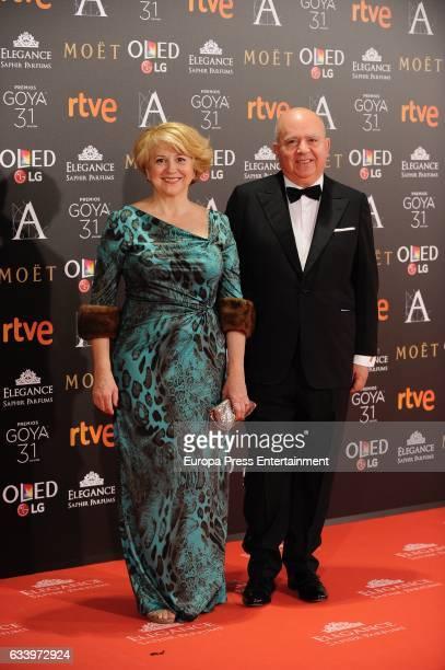 Agustin Almodovar and Esther Garcia attend Goya Cinema Awards 2017 at Madrid Marriott Auditorium on February 4 2017 in Madrid Spain