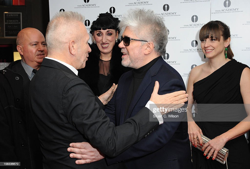 Agustin Almodovar, Jean-Paul Gaultier, Rossy De Palma, Pedro Almodovar and <a gi-track='captionPersonalityLinkClicked' href=/galleries/search?phrase=Leonor+Watling&family=editorial&specificpeople=453297 ng-click='$event.stopPropagation()'>Leonor Watling</a> attend as The Academy of Motion Picture Arts and Sciences honours director Pedro Almodovar at Curzon Soho on December 13, 2012 in London, England.