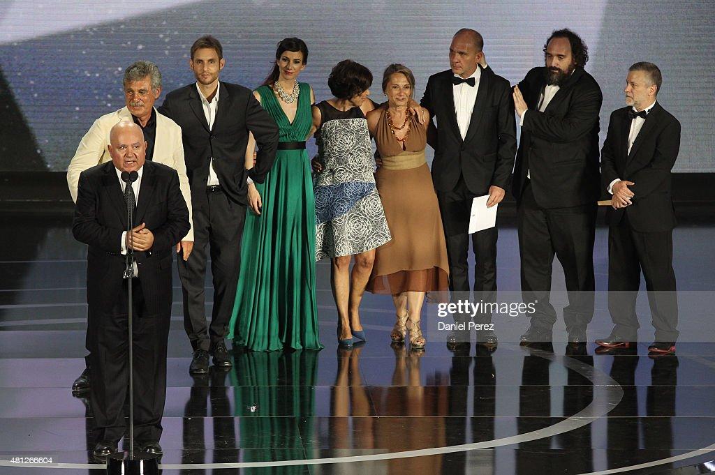 Agustin Almodovar of Best Winner Film 'Relatos Salvajes' onstage at TNTLA Platino Awards 2015 at Starlight Marbella on July 18 2015 in Marbella Spain