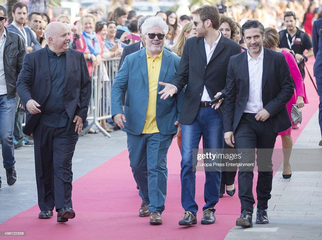 Agustin Almodovar Pedro Almodovar Damian Szifron and Leonardo Sbaraglia attend the 'Relatos Salvajes' premiere at the Victoria Eugenia Theater during...