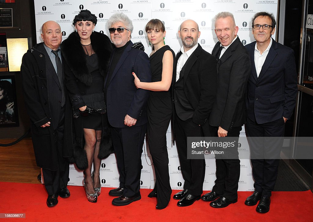 Agustin Almodovar, Rossy De Palma, Pedro Almodovar, <a gi-track='captionPersonalityLinkClicked' href=/galleries/search?phrase=Leonor+Watling&family=editorial&specificpeople=453297 ng-click='$event.stopPropagation()'>Leonor Watling</a>, Javier Camara, Jean-Paul Gaultier and <a gi-track='captionPersonalityLinkClicked' href=/galleries/search?phrase=Alberto+Iglesias&family=editorial&specificpeople=841682 ng-click='$event.stopPropagation()'>Alberto Iglesias</a> attend as The Academy of Motion Picture Arts and Sciences honours director Pedro Almodovar at Curzon Soho on December 13, 2012 in London, England.