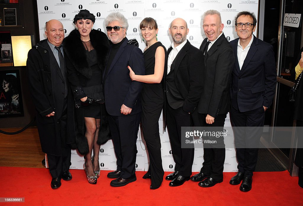 Agustin Almodovar, Rossy De Palma, Pedro Almodovar, Leonor Watling, Javier Camara, Jean-Paul Gaultier and Alberto Iglesias attend as The Academy of Motion Picture Arts and Sciences honours director Pedro Almodovar at Curzon Soho on December 13, 2012 in London, England.