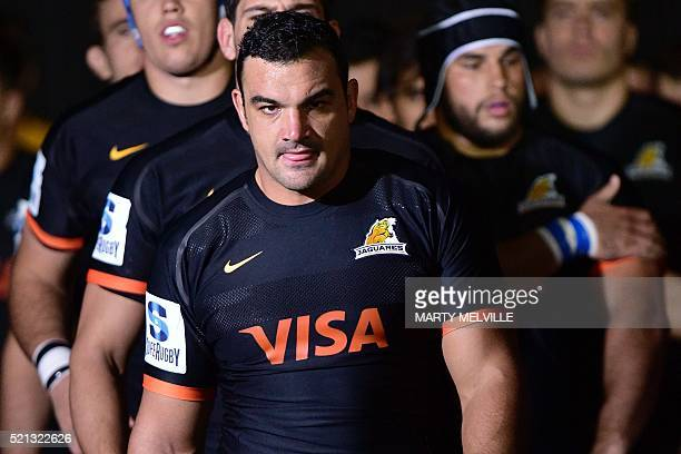 Agustin Creevy captain of the Jaguares leads his team onto the field goal during the Super Rugby match between New Zealand's Canterbury Crusaders and...