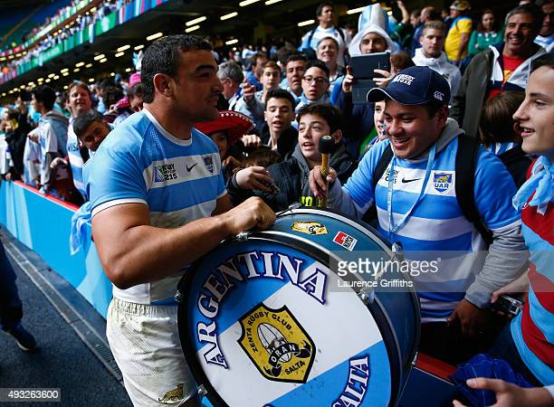 Agustin Creevy of Argentina celebrates victory with the fans after the 2015 Rugby World Cup Quarter Final match between Ireland and Argentina at...