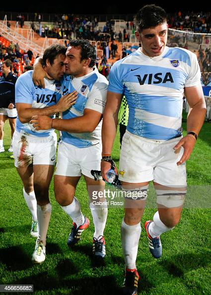 Agustin Creevy of Argentina celebrates with his teammates after winning a match between Argentina Los Pumas and Australia Wallabies as part of The...