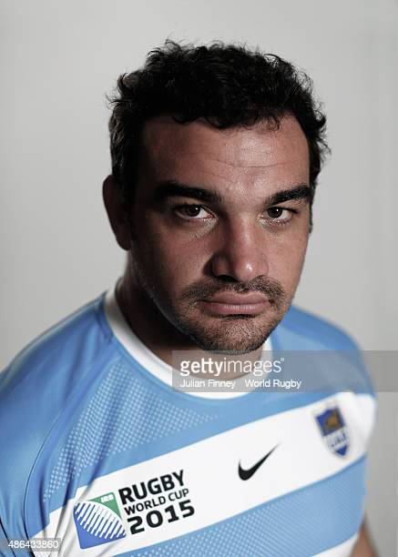 Agustin Creevy of Argentina poses for a portrait during the Argentina Rugby World Cup 2015 squad photo call at the Marriott Hotel in Leicester on...