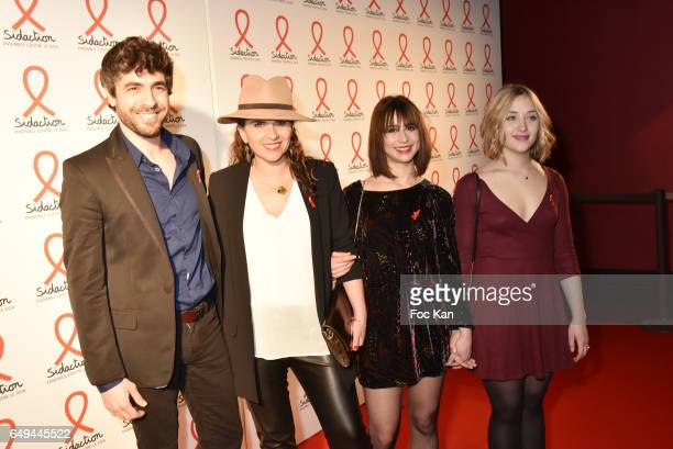 Agustin Galiana from TV serial Clem a producer a guest and Lilly Fleur Pointeaux attend the Sidaction 2017 Launch Party Photocall at Musee Branly on...