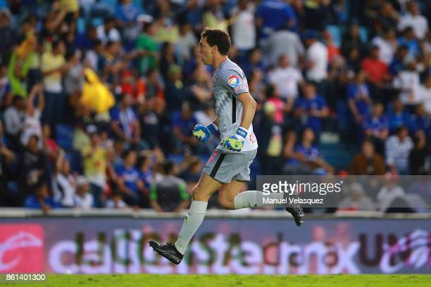 Agustin Marchesin goalkeeper of America celebrates during the 13th round match between Cruz Azul and America as part of the Torneo Apertura 2017 Liga...