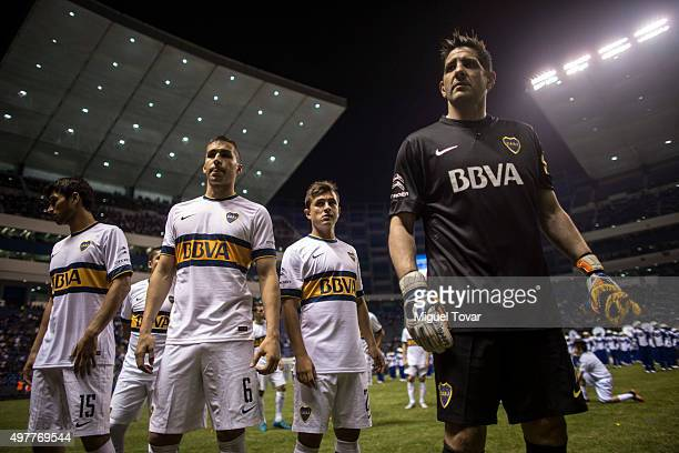 Agustin Orion Adrián Cubas Fernando Tobio and Leandro Marin of Boca Juniors get ready for the opening friendly match between Puebla and Boca Juniors...