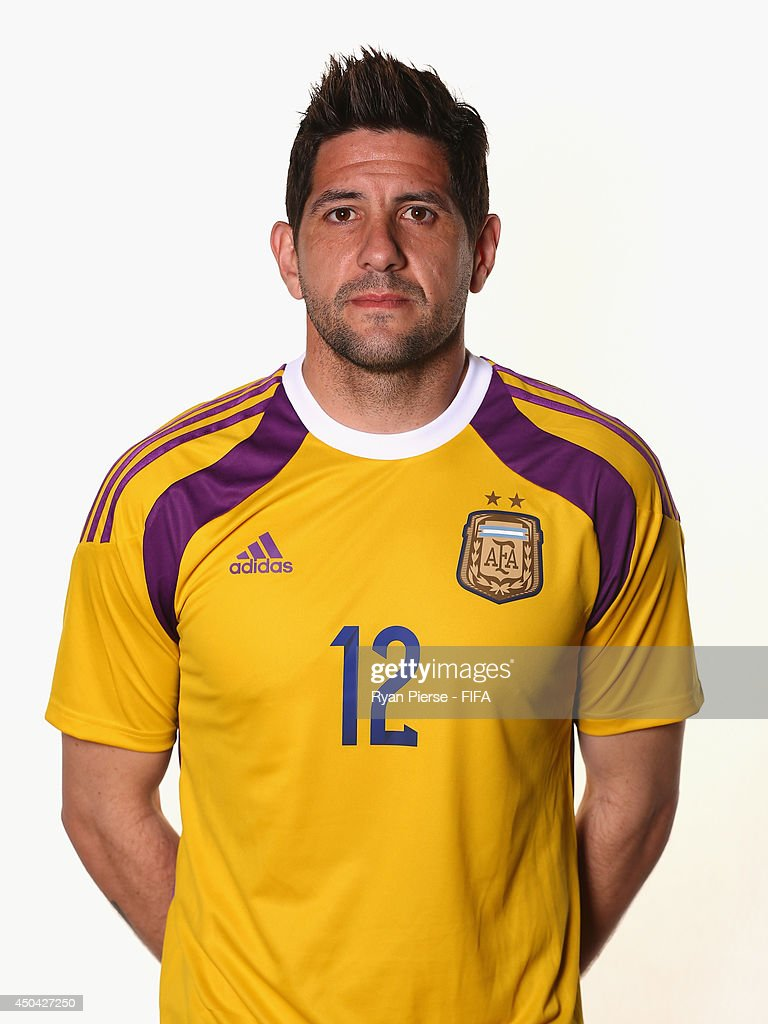 <a gi-track='captionPersonalityLinkClicked' href=/galleries/search?phrase=Agustin+Orion&family=editorial&specificpeople=2498311 ng-click='$event.stopPropagation()'>Agustin Orion</a> of Argentina poses during the official FIFA World Cup 2014 portrait session on June 10, 2014 in Belo Horizonte, Brazil.
