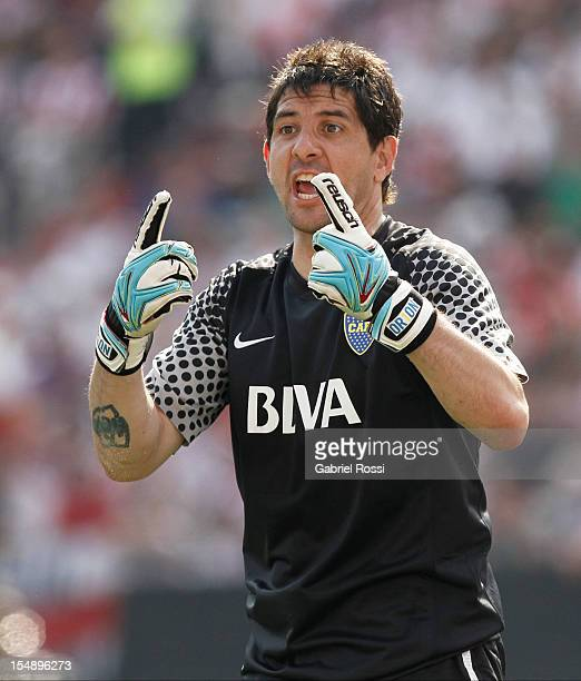 Agustin Orion of Boca Jr during a match between Boca Juniors and River Plate as part of the Torneo Inicial 2012 at Antonio Vespucio Liberti stadium...