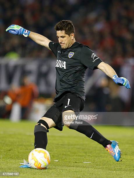 Agustin Orion of Boca Juniors kicks the ball during a first leg match between River Plate and Boca Juniors as part of round of sixteen of Copa...