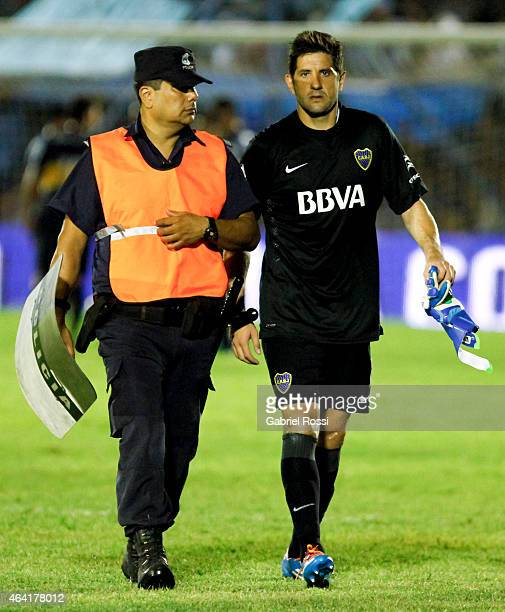Agustin Orion of Boca Juniors leave the field after receiving a red card during a match between Temperley and Boca Juniors as part of second round...