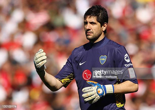 Agustin Orion of Boca Juniors looks on during the Emirates Cup match between Arsenal and Boca Juniors at the Emirates Stadium on July 30 2011 in...