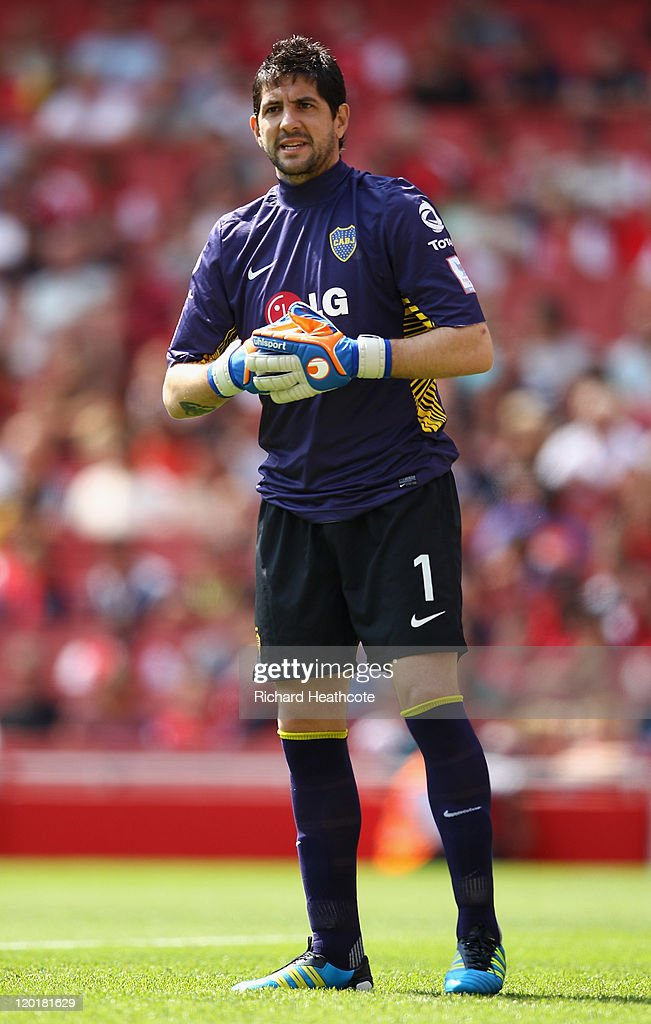 <a gi-track='captionPersonalityLinkClicked' href=/galleries/search?phrase=Agustin+Orion&family=editorial&specificpeople=2498311 ng-click='$event.stopPropagation()'>Agustin Orion</a> of Boca Juniors looks on during the Emirates Cup match between Boca Juniors and Paris St Germain at the Emirates Stadium on July 31, 2011 in London, England.