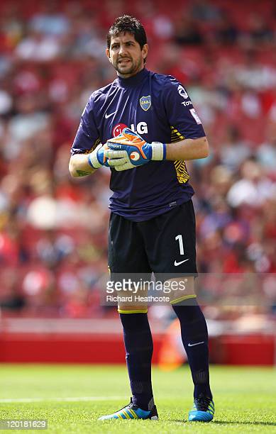 Agustin Orion of Boca Juniors looks on during the Emirates Cup match between Boca Juniors and Paris St Germain at the Emirates Stadium on July 31...
