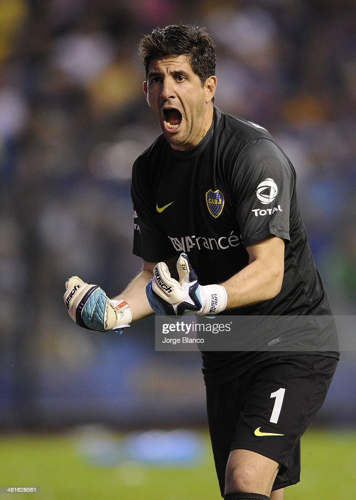 <a gi-track='captionPersonalityLinkClicked' href=/galleries/search?phrase=Agustin+Orion&family=editorial&specificpeople=2498311 ng-click='$event.stopPropagation()'>Agustin Orion</a> of Boca Juniors reacts during a match between Boca Juniors and River Plate as part of 10th round of Torneo Final 2014 at Alberto J. Armando Stadium on March 30, 2014 in Buenos Aires, Argentina.