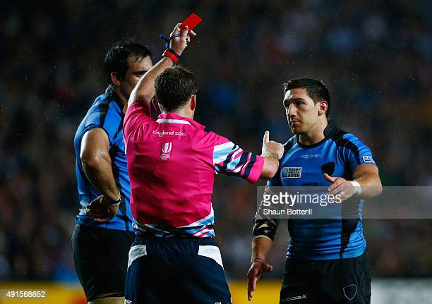 Agustin Ormaechea of Uruguay is shown a red card and is sent off by referee JP Doyle during the 2015 Rugby World Cup Pool A match between Fiji and...
