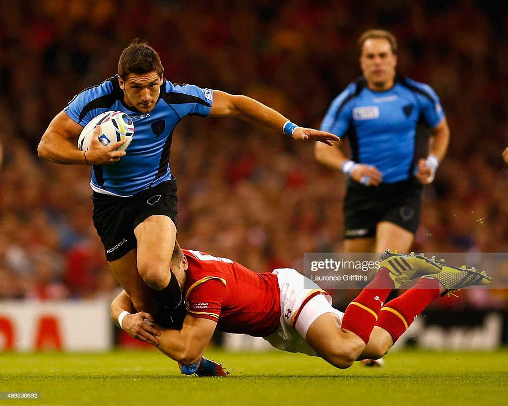 Agustin Ormaechea of Uruguay is tackled by <a gi-track='captionPersonalityLinkClicked' href=/galleries/search?phrase=Liam+Williams&family=editorial&specificpeople=7852399 ng-click='$event.stopPropagation()'>Liam Williams</a> of Wales during the 2015 Rugby World Cup Pool A match between Wales and Uruguay at Millennium Stadium on September 20, 2015 in Cardiff, United Kingdom.