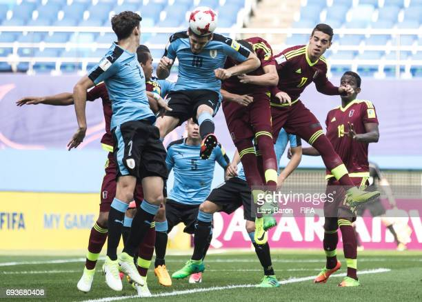 Agustin Rogel of Uruguay goes up for a header during the FIFA U20 World Cup Korea Republic 2017 Semi Final match between Uruguay and Venezuela at...