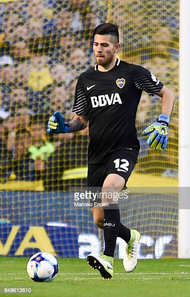 Agustin Rossi goalkeeper of Boca Juniors kicks the ball during a match between Boca Juniors and Godoy Cruz as part of Superliga 2017/18 at Alberto J...
