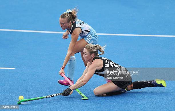 Agustina Habif of Argentina and Anita McLaren of New Zealand during the FIH Women's Hockey Champions Trophy match between Argentina and New Zealand...