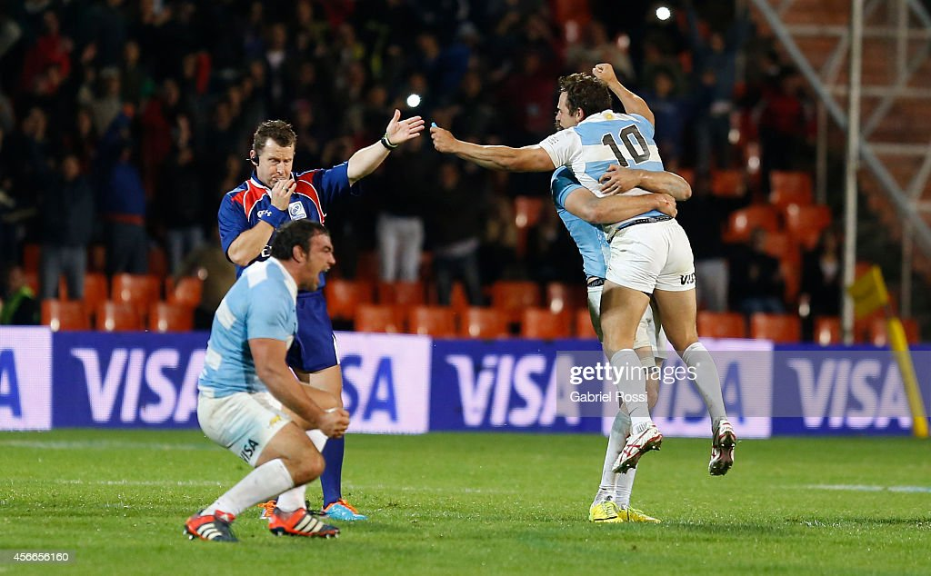 Agustín Creevy captain of Argentina celebrates at the end of a match between Argentina Los Pumas and Australia Wallabies as part of The Rugby...