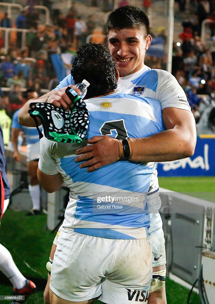 Agustín Creevy of Argentina celebrates with Lucas Gonzalez Amorosino after winning a match between Argentina Los Pumas and Australia Wallabies as part of The Rugby Championship 2014 at October 04, 2014 at Malvinas Argentinas Stadium in Mendoza, Argentina.