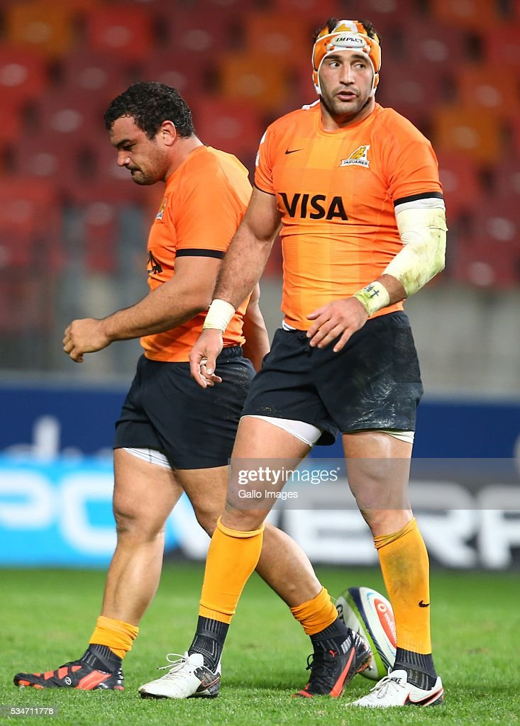 Agustn Creevy (captain) of the Jaguares with Juan Manuel Leguizamon of the Jaguares during the Super Rugby match between Southern Kings and Jaguares at Nelson Mandela Bay Stadium on May 27, 2016 in Port Elizabeth, South Africa.