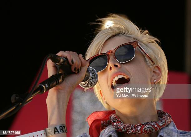 Agyness Deyn of the Five O'Clock Heroes performs at T4 On The Beach in WestonSuperMare
