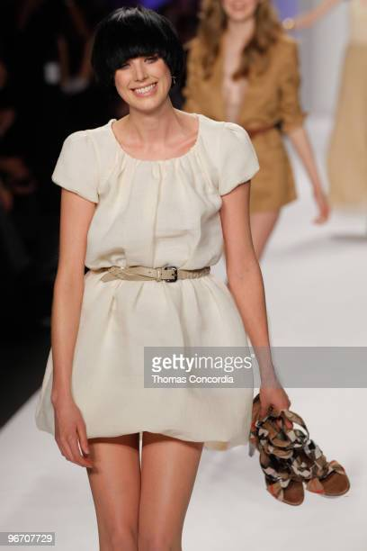 Agyness Deyn walks the runway at Naomi Campbell's Fashion For Relief Haiti NYC 2010 Fashion Show during MercedesBenz Fashion Week at The Tent at...
