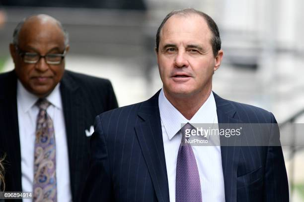 Ahead of entertainer Bill Cosby his defense attorney Brian McMonagle and Angela Agrusa arrive for the sixth day of jury deliberations in the...