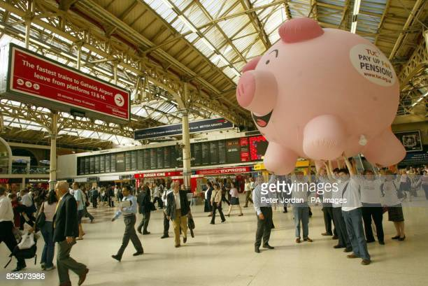 Ahead of the TUC Pay Up For Pension's rally which takes place on Saturday 19 June 2004 a giant Pensions Piggy Bank went on display at Victoria...