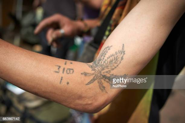 Ahemp's tatoo during the Global Marijuana March For the Global Marijuana March supporters of legalization for medical and recreationnal use run a...