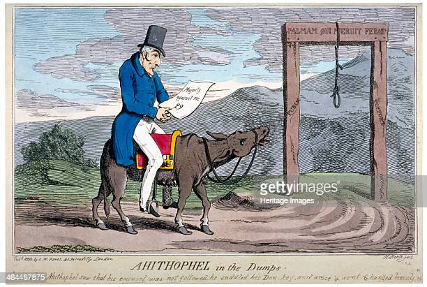'Ahithophel in the dumps' 1830 The Duke of Wellington on a donkey with a saddle resembling a mayoral gown approaching a gallows The donkey and gown...