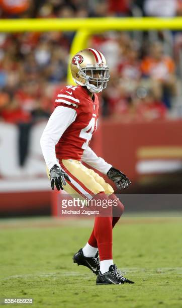 Ahkello Witherspoon of the San Francisco 49ers defends during the game against the Denver Broncos at Levi Stadium on August 19 2017 in Santa Clara...