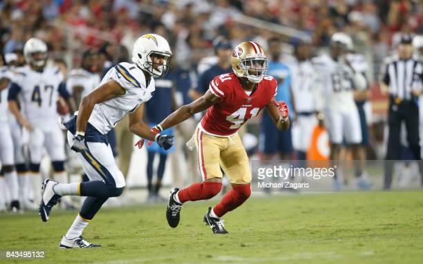 Ahkello Witherspoon of the San Francisco 49ers defends during the game against the Los Angeles Chargers at Levi's Stadium on August 31 2017 in Santa...