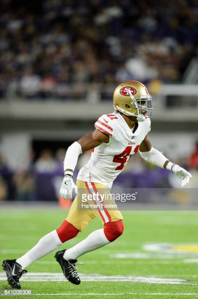 Ahkello Witherspoon of the San Francisco 49ers takes off from the line of scrimmage against the Minnesota Vikings in the preseason game on August 27...