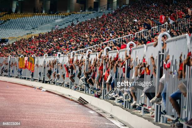 Ahly fans before the CAF Champions League quarterfinal firstleg football match between Egypt's AlAhly and Tunisia's Esperance of Tunis at Borg AlArab...